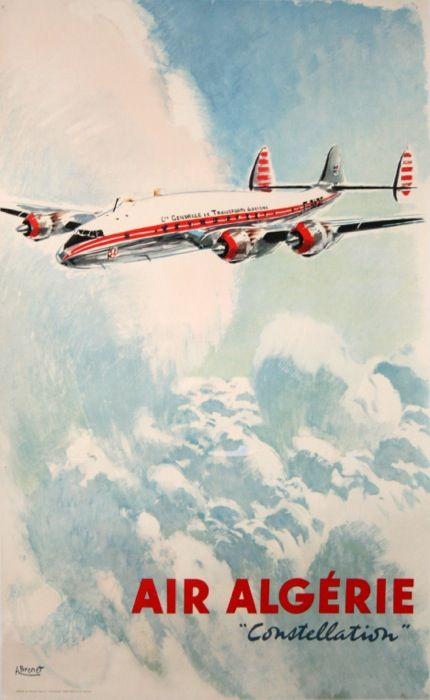air algerie constellation : 1950 affiches anciennes de BRENET Albert Victor Eugène