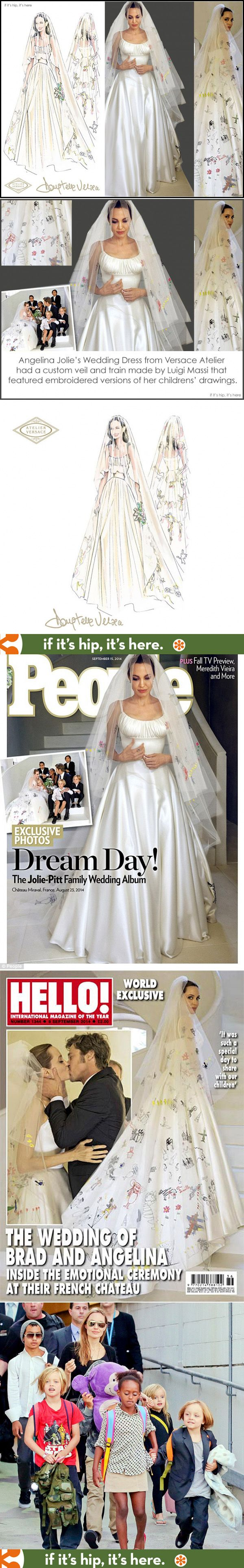 The best look at Angelina Jolie's wedding dress and veil. More at http://www.ifitshipitshere.com/angelina-jolie-pitts-wedding-gown-veil-decorated-childrens-art/