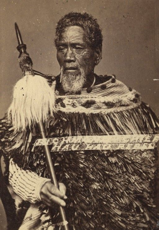 Maori chief holding a taiaha, 1860-1879