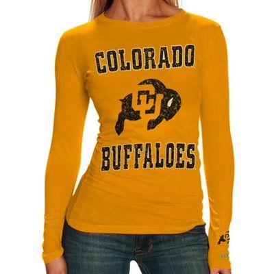 Colorado Buffaloes Ladies Gold Distressed University Logo Long Sleeve T-shirt