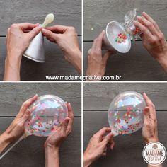 Balão transparente com confete colorido - Como fazer bexiga com confeti para festa infantil - How to make confetti filled baloons - DIY
