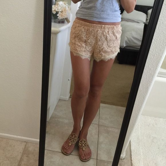 Lace pink / nude shorts Lace pink / nude shorts. Size small. Bought from a boutique in Orange County. Cute and comfy for the summer ☀️ Rehab Other