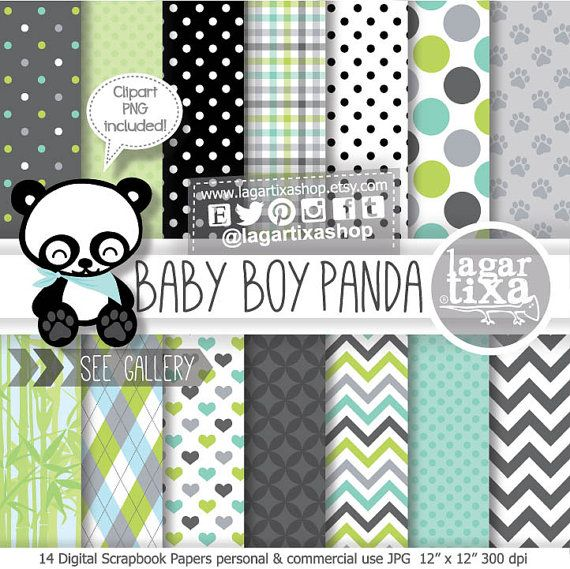 Panda Boy Bear, Digital Paper, Patterns, Clipart Images Included, Gray, Green, Black, Turquoise, Lime, Chevron, Argyle, Bamboo, Frames,
