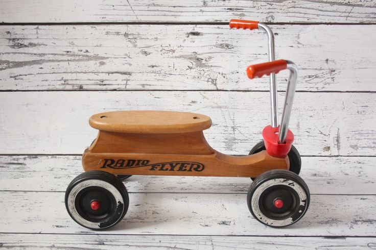 Rare Vintage Radio Flyer Maple Wood Ride-on Children's Scooter Push Car Toy Chrome Handlebars Red Accents & Black Toddler Bicycle by BrooklynBornFinds on Etsy