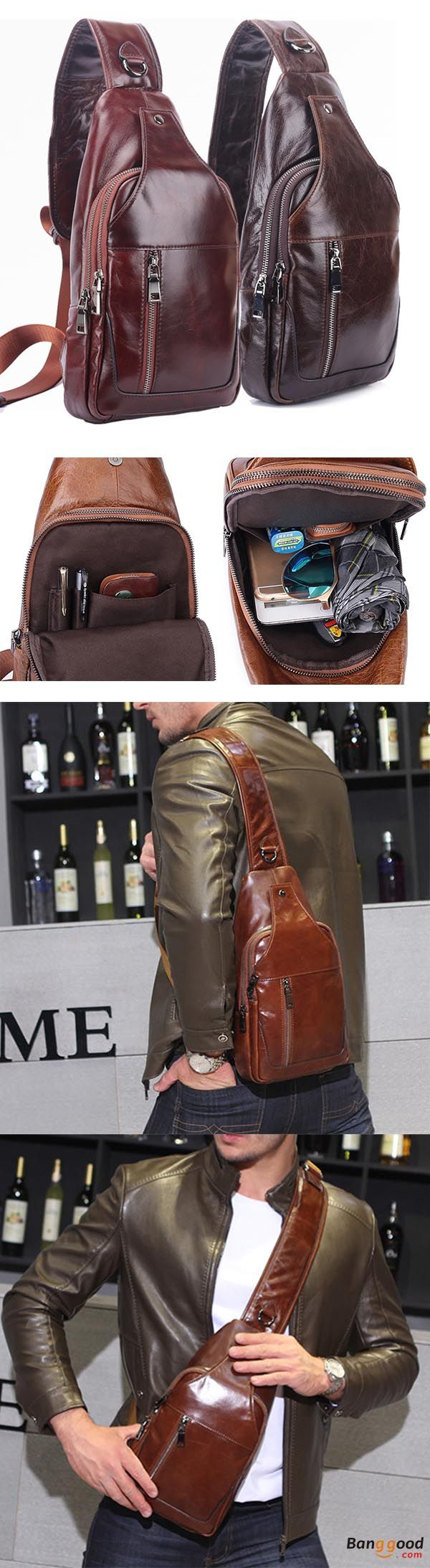 US$59.99 + Free shipping. Men bag, business bag, genuine leather chest bag, shoulder bags, crossbody bags for men. Material: Genuine Leather. Color: Black, Brown, Coffee, Dark Brown, Dark Coffee.