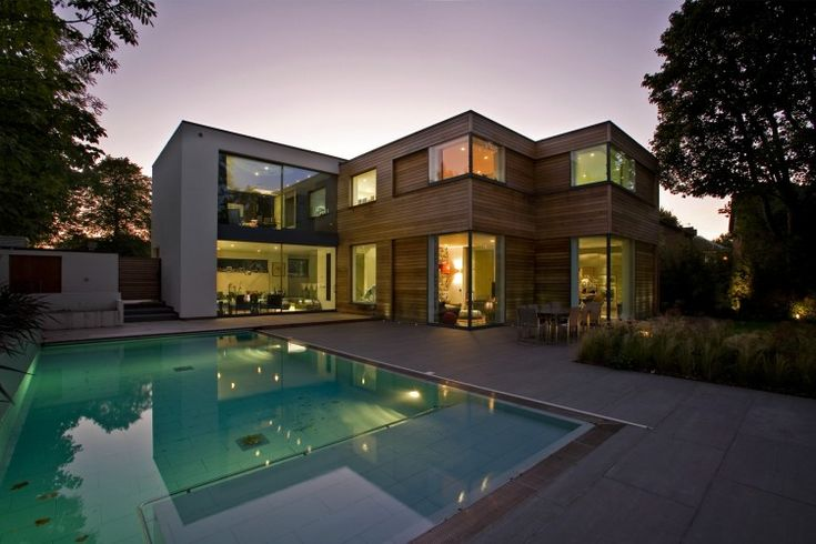 Contemporary Residence in North-Western London: Contemporary Home, Decks Design, Contemporary Houses, North Westerns London, Contemporary Resident, Backyard Pools, Modern Interiors, Pools Design, Corner Window