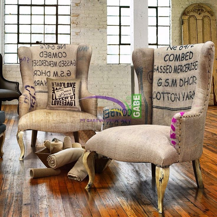 #wing #chair covered with #burlap #france #style #mahogany #wood #distress coloring #vintage #classic #indoor #furniture #hanmade #interior by #gabeart more priducts visit www.gabeart.com