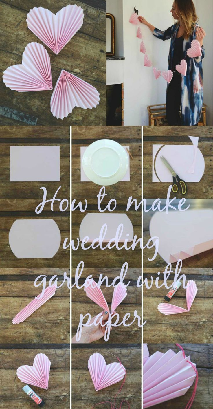 How to make wedding garland pink hearts with paper