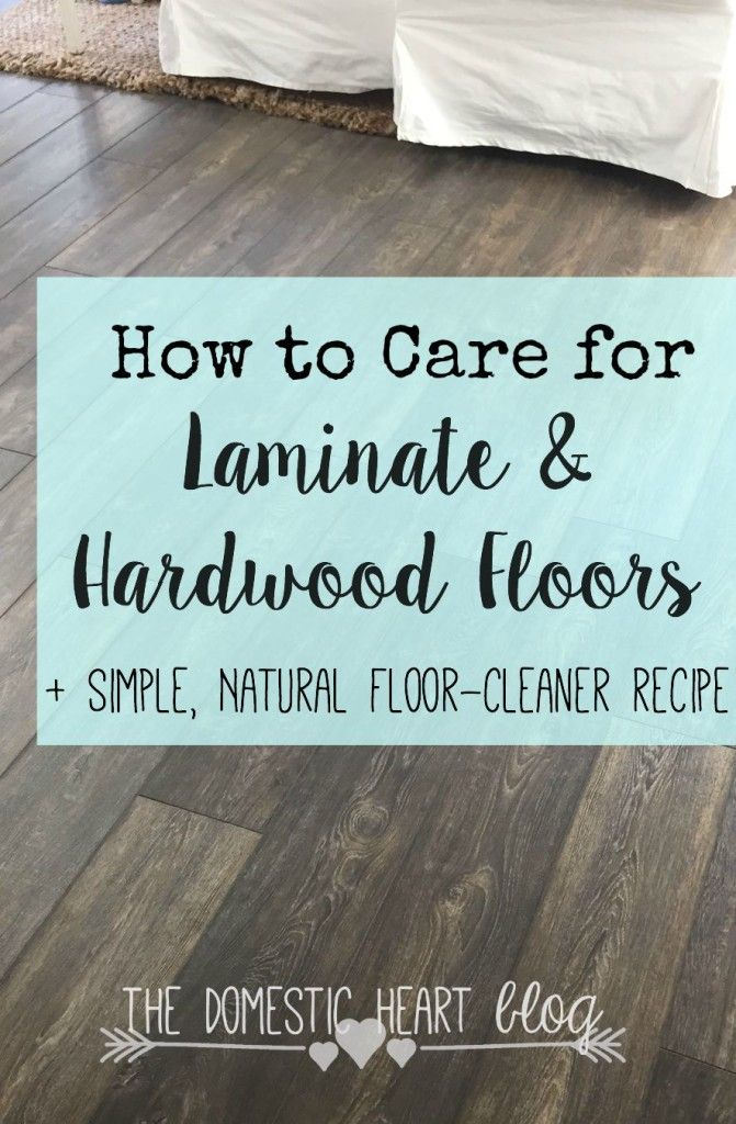 Simple overview of caring for laminate and hardwood floors, including  cleaning tips and a natural cleaning solution.