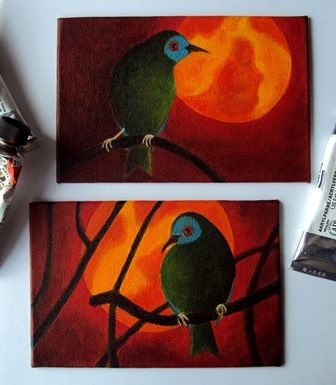 """Belbirds 2014, acrylic on board, 10x15 cm For these paintings was my inspiration the beautiful photos of Amanda Keogh, a painter and a photographer. She lives in Southern New Zealand where she makes amazing and sensitive photo's of the nature. She lives (with her husband) """"with the birds and the weather"""".  You can see her photos at Flickr: https://www.flickr.com/photos/birdcloud1  and for the Belbirds you can see her album: www.flickr.com/photos/birdcloud1/sets/72157634757331025"""