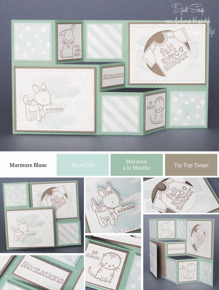 djudi 39 scrap tutoriel carte de naissance faire part de naissance en escalier set fait avec. Black Bedroom Furniture Sets. Home Design Ideas