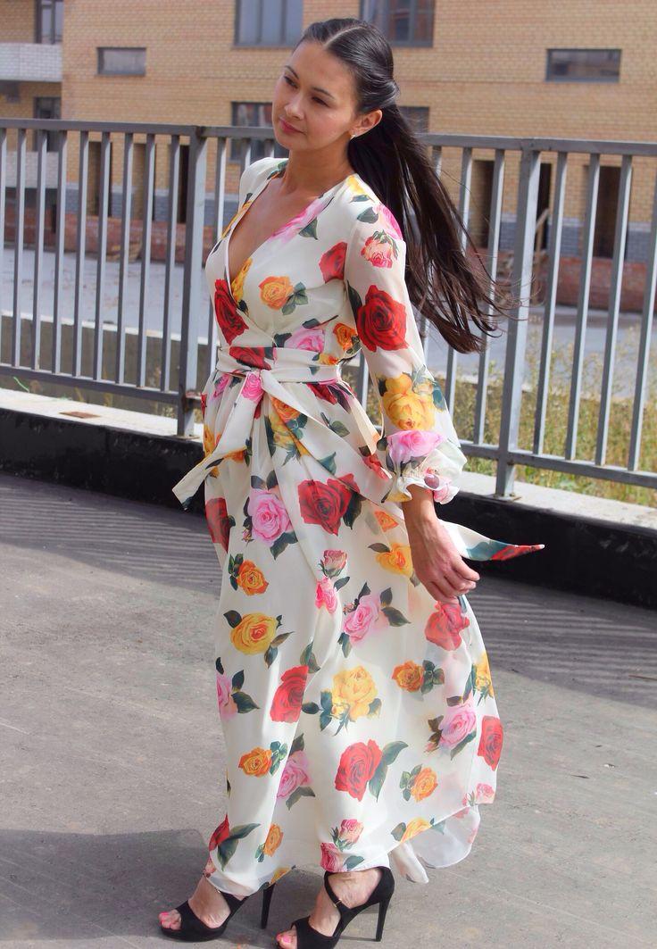 Шифоновое Платье в пол с принтом розы #dress