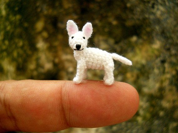 White Bull Terrier Puppy - Tiny Crochet Miniature Dog Stuffed Animals - Made To Order