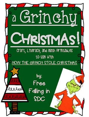 "A Grinchy Christmas (craft, literacy, & math printables) from Free Falling in SDC on TeachersNotebook.com - (17 pages) - printables that go great with the story ""How The Grinch Stole Christmas"". A Grinch craft, literacy pages, and tally/bar graph activities that can be used right away."