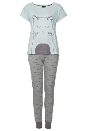 Cat Print Pyjama set. my boyfriend doesn't like cats, but i love this