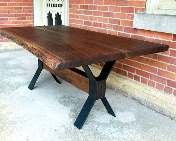 live edge black walnut dining table custom steel legs modern design