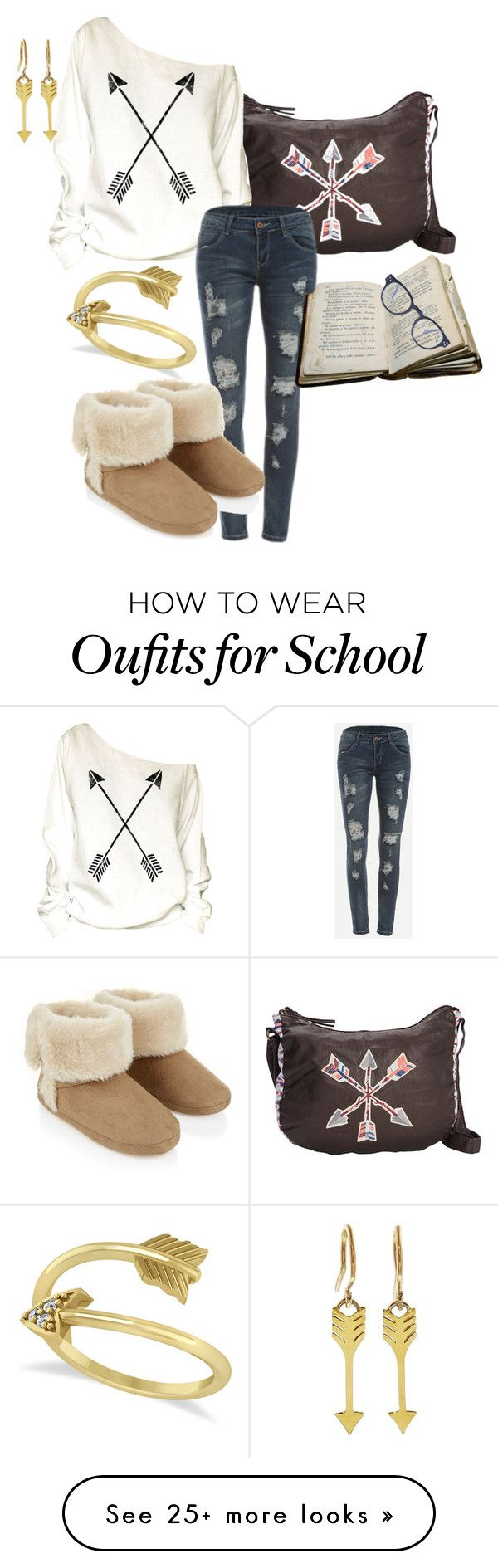 """""""BACK TO SCHOOL"""" by deborah-calton on Polyvore featuring T-shirt & Jeans, Allurez, Jennifer Meyer Jewelry and Accessorize"""