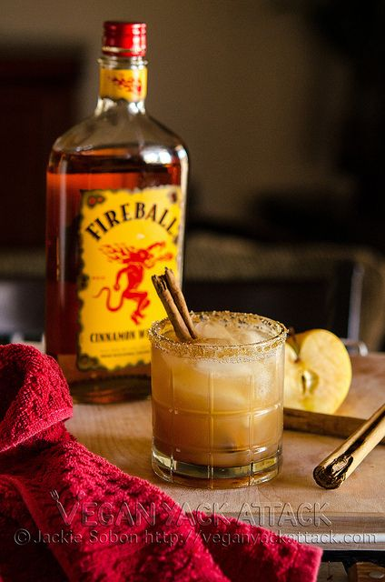 apple pie on the rocks: 1 oz vanilla vodka, 1 oz. fireball, 4 oz. apple juice, pinch of cinnamon, brown sugar on the rim, cinnamon stick for garnish