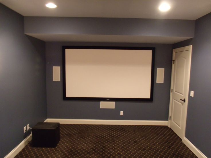Projector screen with left center right in wall speaker channels and a subwoofer our project - Home theater screen wall design ...