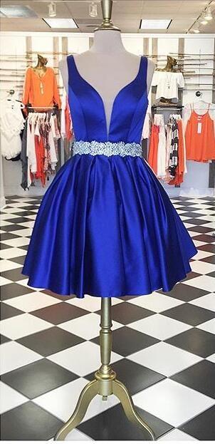 short prom dress, 2017 prom dress, royal blue prom dress, 2017 short royal blue homecoming dress