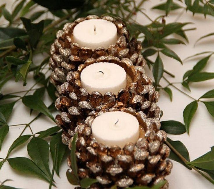 Porte-bougies en pommes de pin