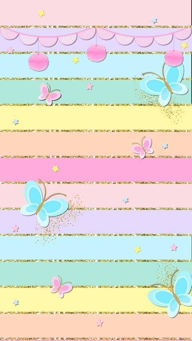 Pastel Stripes and Butterflies Wallpaper