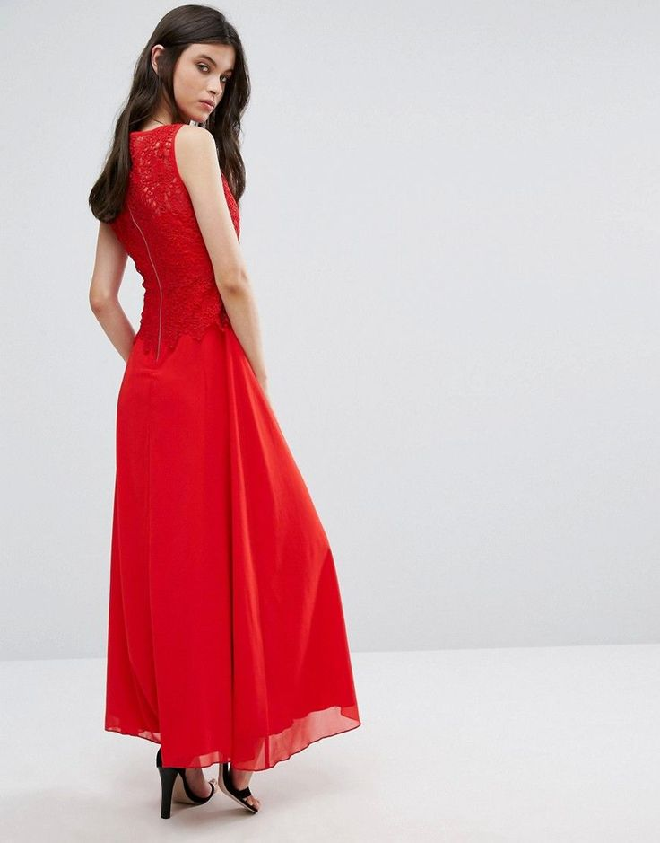 Yumi Petite Maxi Dress With Lace Overlay Top - Red