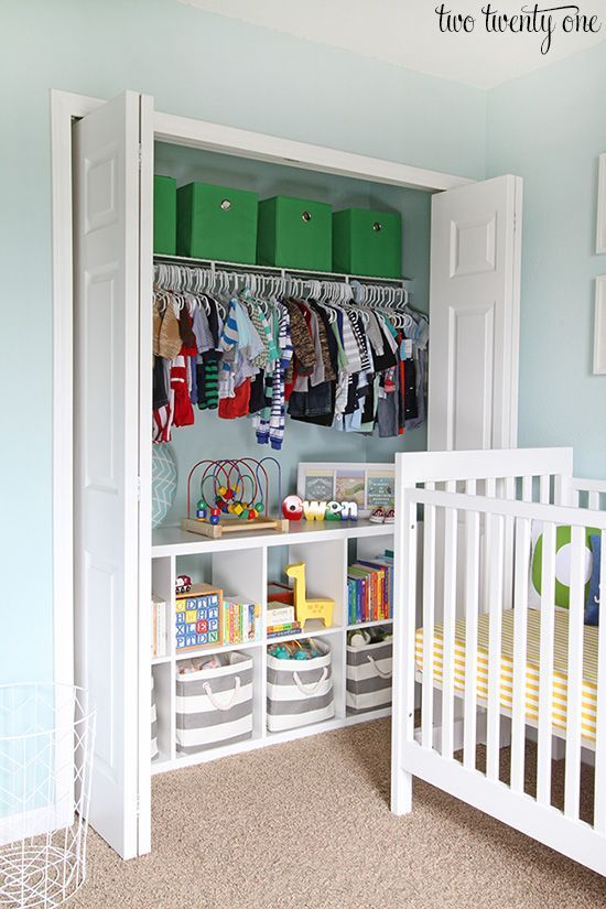 Baby clothes are so short that they don't take up much vertical space in the closet. KALLAX makes great use of most of that space by storing small items, books and toys. See how Chelsea used her KALLAX on her blog, Two Twenty One.