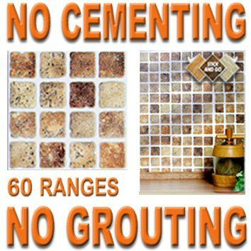 STONE MOSAIC: Box of 18 tiles 4x4 SOLID PEEL & STICK ON TILES apply over tiles or onto the wall ! by STICK AND GO TILES. $19.99. No Grouting. No Cementing. Covers 2 Sq.Ft. (0.2) per box. 18 tiles per box. STICK AND GO TILES are self adhesive wall tiles that look and feel just like ceramic tiles - but there is NO CEMENTING & NO GROUTING required ! Stick and Go tiles aren't just for walls, they can be used on any flat, clean surface and are perfect for tiling any a...