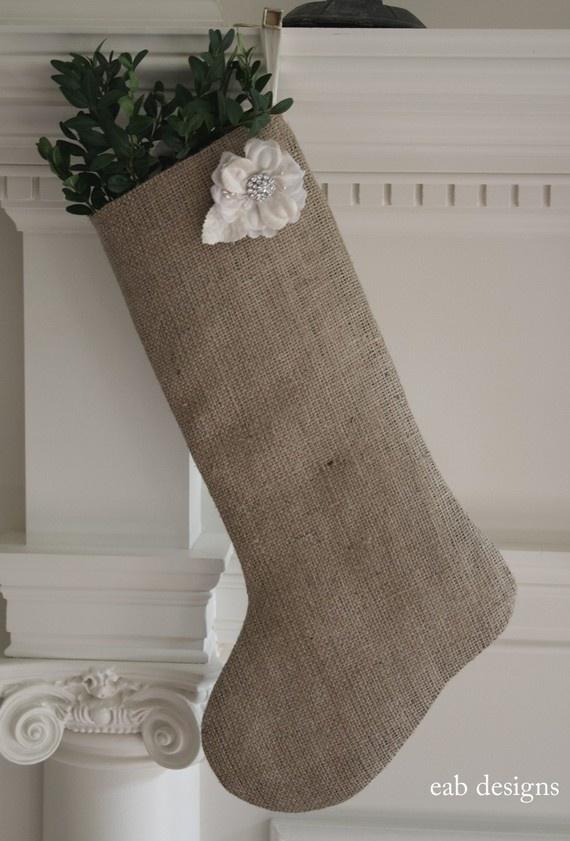 Burlap Christmas Stocking by eabdesigns on Etsy, $28.00