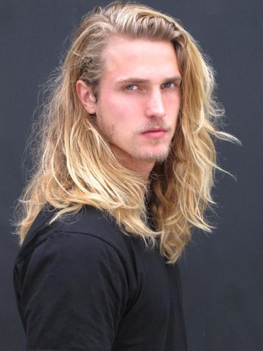 Buff blonde long hair twink