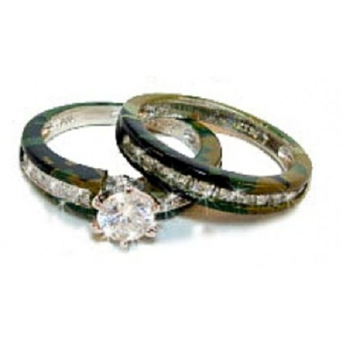 Hers two part camo wedding rings