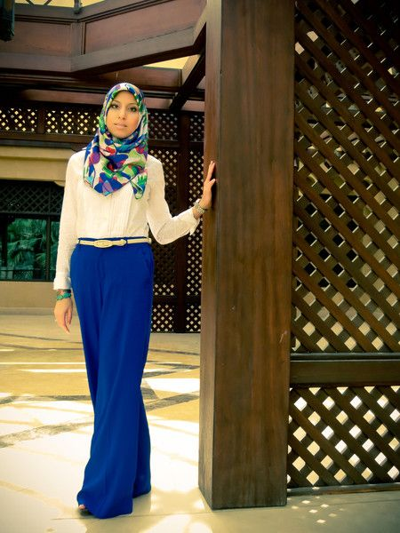 HH Style Guide: Palazzo Pants & HH Luxe Aloha Scarf - Haute Hijab