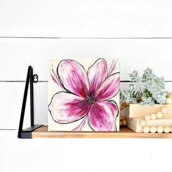 Pink Flower Canvas Wall Art Gift For Friend Original Art Etsy In 2020 Flower Canvas Wall Art Flower Canvas Flower Painting Canvas