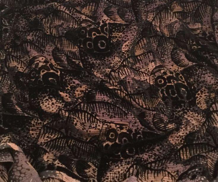 Burnout Silk VELVET Fabric Metallic Black & Beige
