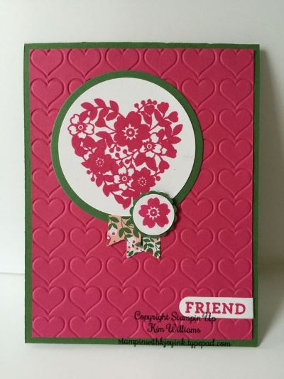 Stampin Up, Bloomin Love and Bloomin Heart stamp set and framelits. Happy Heart emboss folder and new designer paper from the Stampin Up Occasions Catalog 2016. This is from Kims Card Class IMG_5816