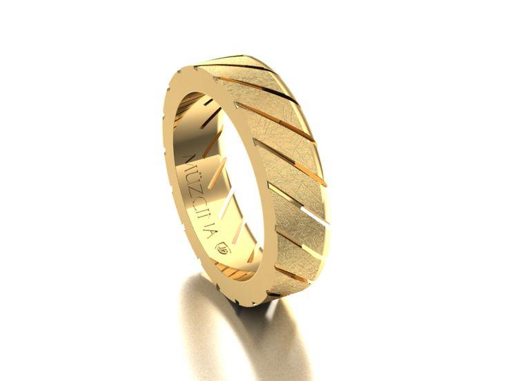 MÜZCINA Collection by JJBückar - BX11-A-100-X-XX-XX-18Y-SX, Stone Finish, 18K Yellow Gold, Men's, Wedding Rings, Wedding Bands, Designer, Luxury, Deluxe, Unique, Modern, Pattern, Custom, Precision Machined