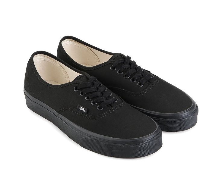 Authentic Sneaker Shoes by Vans. All black sneakers made from canvas, stitching accent,  cushioned foot bed. Vans original and now iconic style, is a simple low top, perfect for hanging out with friends or going to work.  http://www.zocko.com/z/JEoQt