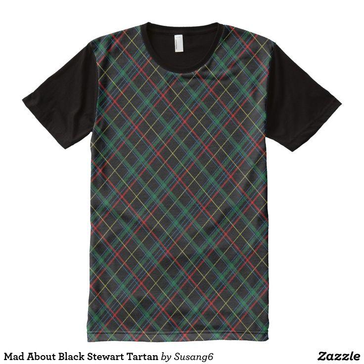 Mad About Black Stewart Tartan All-Over-Print Shirt