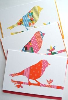 Washi tape card - bird on a branch a use for those plastic stencils finally, maybe for the Christmas cards this year. A Washi Tape buying I will go...