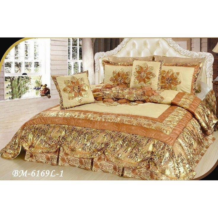 Floral Golden Botanic Romantic Bordered Embellished Ruffles Bedspread Comforter Set (BM6169L-1)  #family #sales #amazon #gotyoucovered #disney