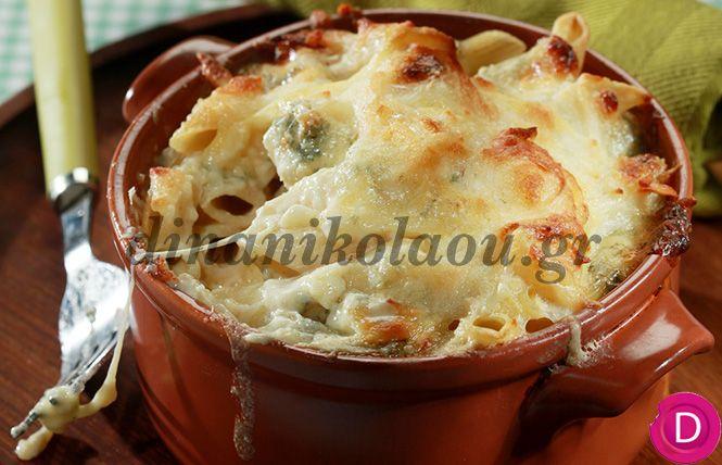 Πένες στο φούρνο με 3 τυριά   Dina Nikolaou