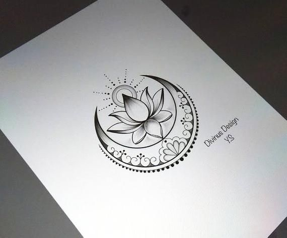 Lotus mit Sonne und Mond Tattoo und Schablone – Instant Digital Download