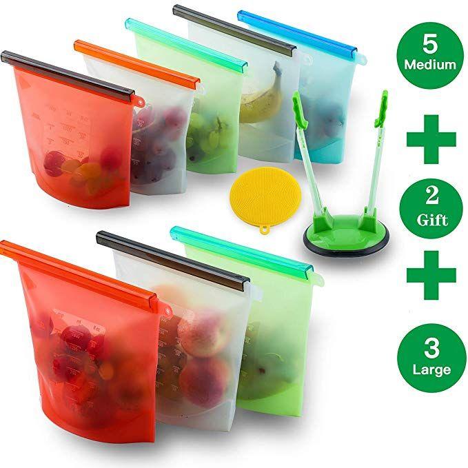 Zonegrace Reusable Silicone Food Storage Bags Set Of 8 3xlarge 50oz 5xmedium 30oz Airtight Seal Food Preserva Food Storage Food Storage Bags Preserving Food