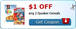 New Coupon!  $1.00 off any 2 Quaker Cereals - http://www.stacyssavings.com/new-coupon-1-00-off-any-2-quaker-cereals/