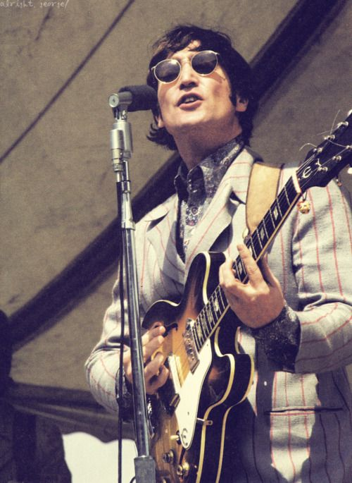 John Lennon playing his treasured 1965 Epiphone Casino. Paul McCartney was the first Beatle to play an Epiphone Casino, a 1962 that he used to record the solos for Drive My Car and Taxman.