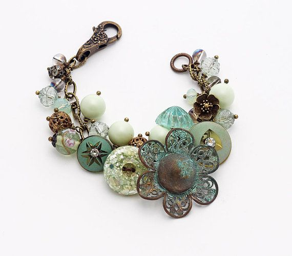 Statement button bracelet, OOAK, Boho/Shabby Chic/Victorian genres, in pastel greens and blues, with a gorgeous vintage, time worn, patinaed