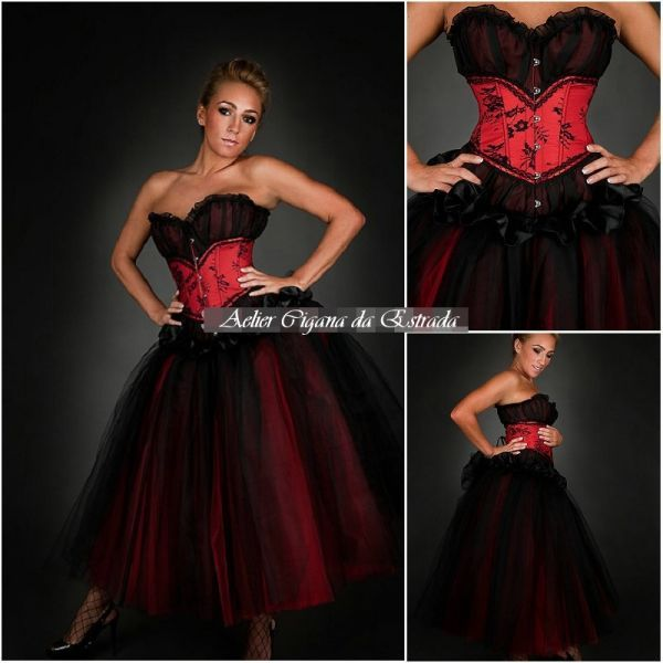 Vestido Pomba gira Tule Preto com Vermelho Corselet