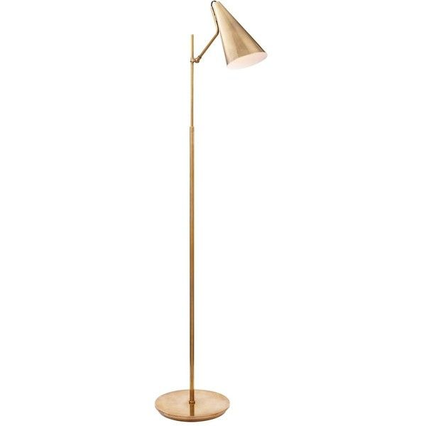 AERIN Clemente Floor Lamp ($840) ❤ liked on Polyvore featuring home, lighting, floor lamps, lamps, antique brass shade, floor reading lamp, antique brass lamp, midcentury lamp, mid century modern floor lamp and reading lights