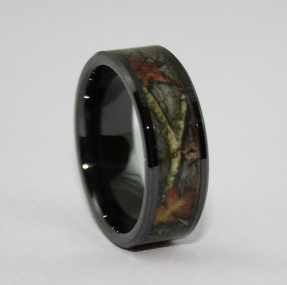 Camo Ring - Black Wedding Band - Leafy Camo Wedding Ring - Ceramic GREAT for Electricians! on Etsy, $99.99